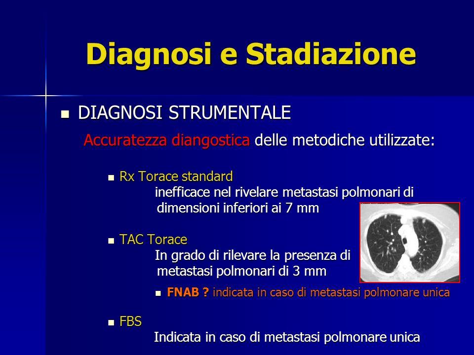 Diagnosi e stadiazione STADIAZIONE STRUMENTALE STADIAZIONE STRUMENTALE Accuratezza diangostica delle metodiche utilizzate per la valutazione delle metastasi polmonari e per la ricerca di eventuali metastasi extrapolmonari: PET SCAN / TAC PET PET SCAN / TAC PET D iminuisce in numero di falsi positivi per lesioni polmonari sospette di dimensioni > 9 mm e completa la stadiazione extratoracica.