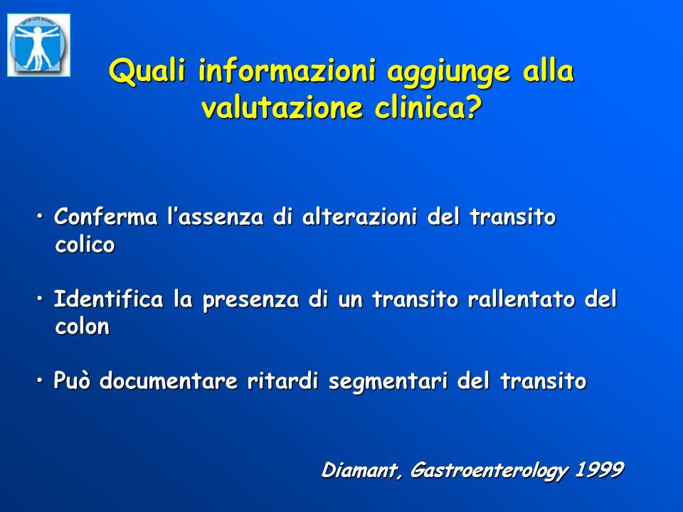 Quali informazioni aggiunge alla valutazione clinica? Diamant, Gastroenterology 1999 Conferma lassenza di alterazioni del transito Conferma lassenza d