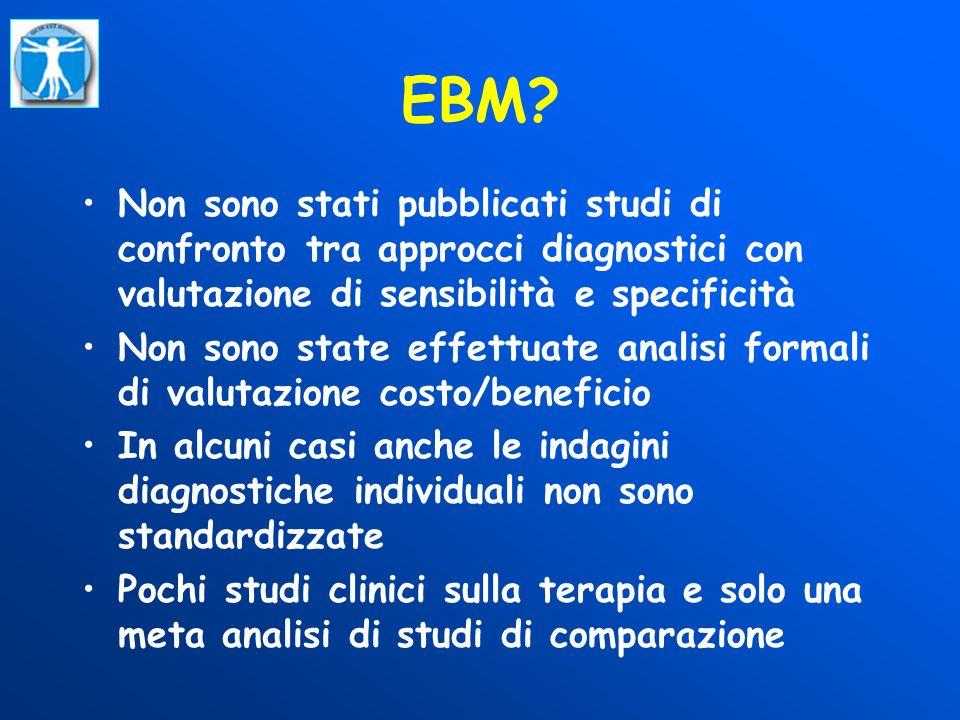 EBM? Non sono stati pubblicati studi di confronto tra approcci diagnostici con valutazione di sensibilità e specificità Non sono state effettuate anal