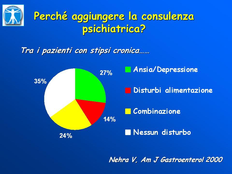 Perché aggiungere la consulenza psichiatrica? Tra i pazienti con stipsi cronica…… Nehra V, Am J Gastroenterol 2000