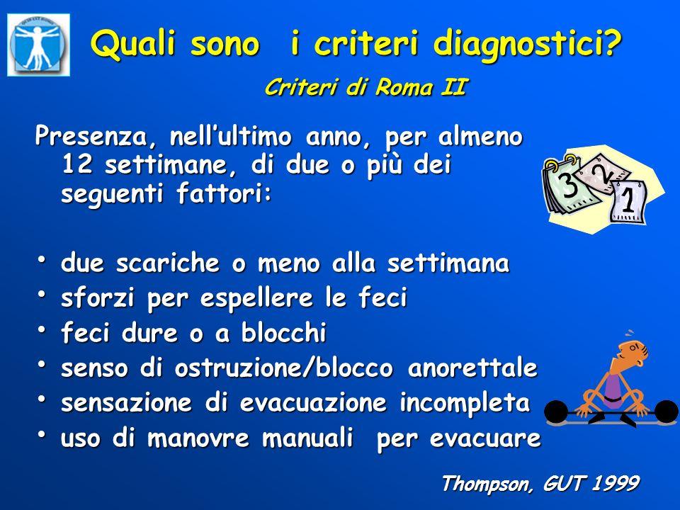 Quali sono i criteri diagnostici? Criteri di Roma II Presenza, nellultimo anno, per almeno 12 settimane, di due o più dei seguenti fattori: due scaric