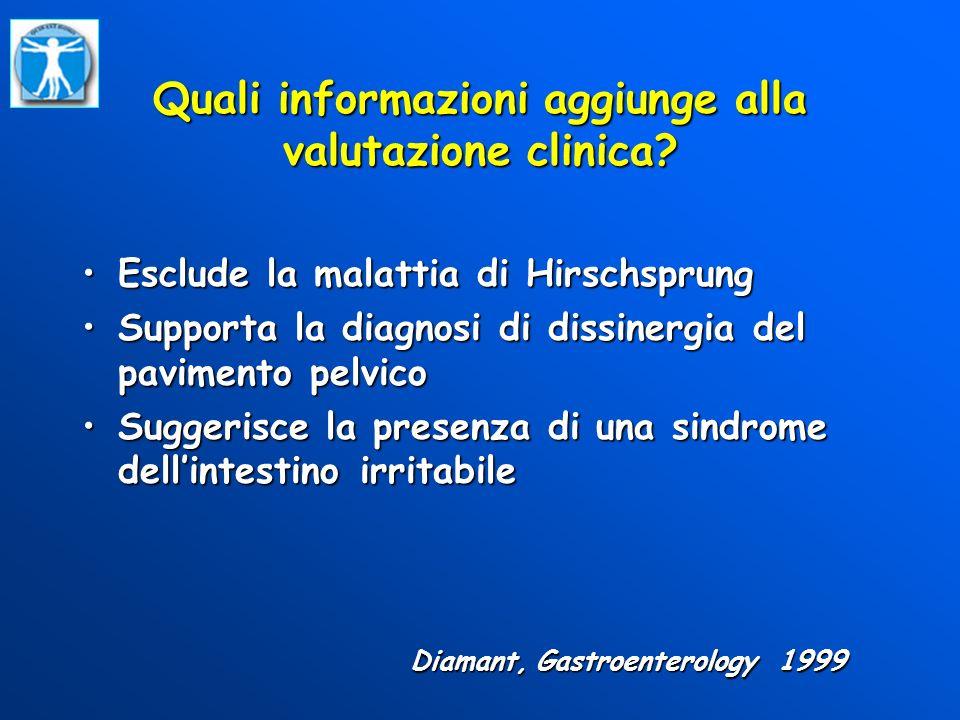 Quali informazioni aggiunge alla valutazione clinica? Esclude la malattia di HirschsprungEsclude la malattia di Hirschsprung Supporta la diagnosi di d