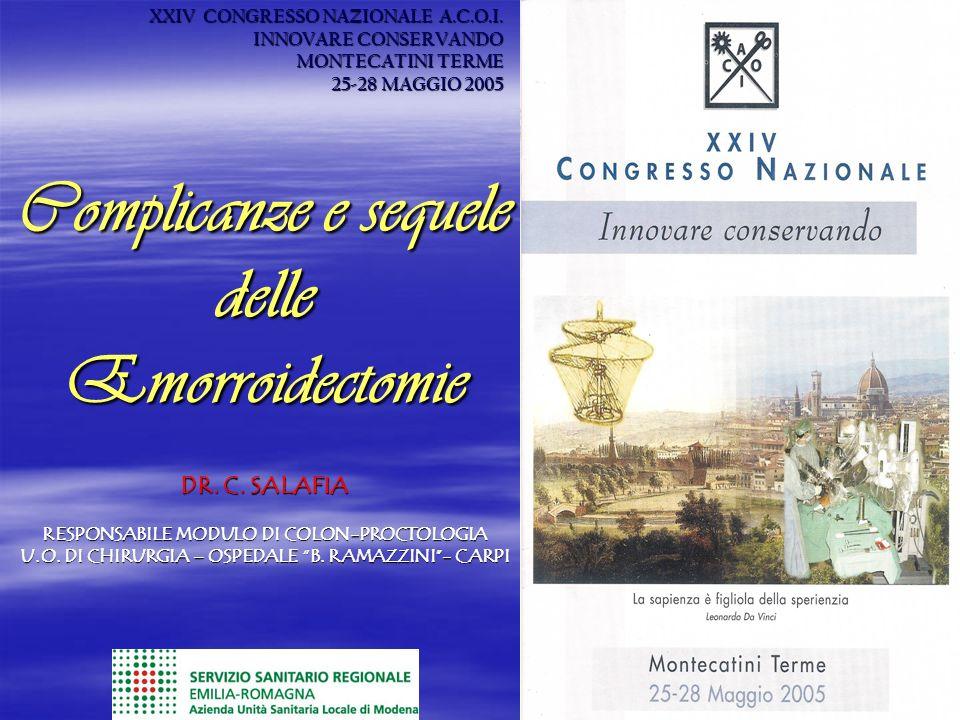 XXIV CONGRESSO NAZIONALE A.C.O.I. INNOVARE CONSERVANDO MONTECATINI TERME 25-28 MAGGIO 2005 Complicanze e sequele delle Emorroidectomie DR. C. SALAFIA