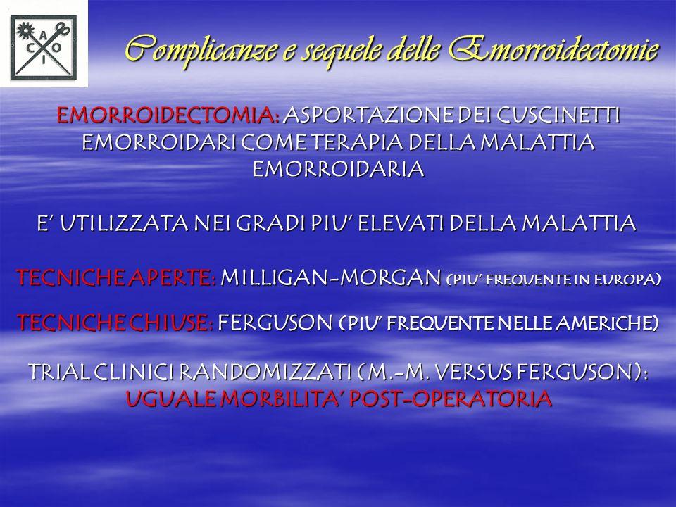 Complicanze e sequele delle Emorroidectomie Complicanze e sequele delle Emorroidectomie EMORROIDECTOMIA: ASPORTAZIONE DEI CUSCINETTI EMORROIDARI COME