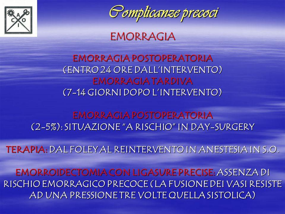 EMORRAGIA EMORRAGIA POSTOPERATORIA (ENTRO 24 ORE DALLINTERVENTO) EMORRAGIA TARDIVA (7-14 GIORNI DOPO LINTERVENTO) EMORRAGIA POSTOPERATORIA (2-5%): SIT
