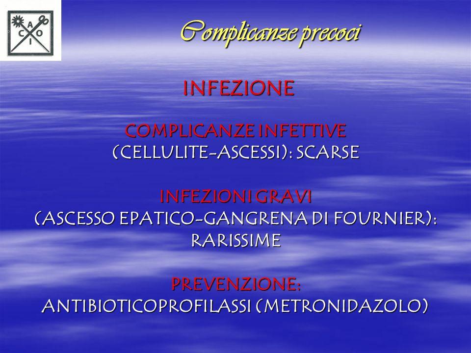 INFEZIONE INFEZIONE COMPLICANZE INFETTIVE (CELLULITE-ASCESSI): SCARSE INFEZIONI GRAVI (ASCESSO EPATICO-GANGRENA DI FOURNIER): RARISSIME PREVENZIONE: A
