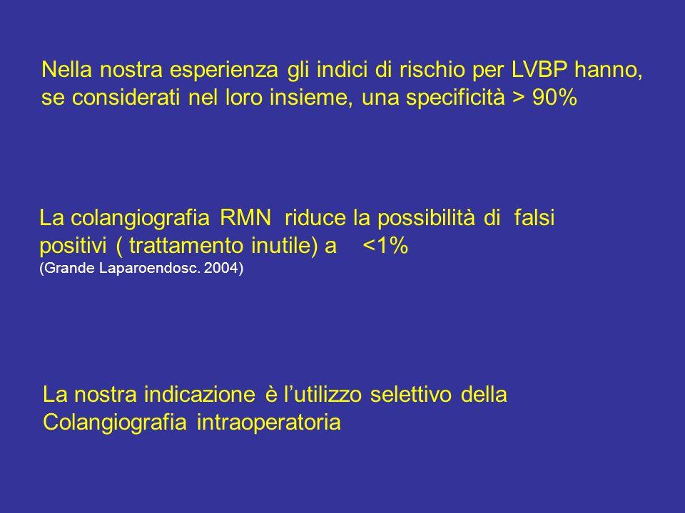Nella nostra esperienza gli indici di rischio per LVBP hanno, se considerati nel loro insieme, una specificità > 90% La colangiografia RMN riduce la possibilità di falsi positivi ( trattamento inutile) a <1% (Grande Laparoendosc.