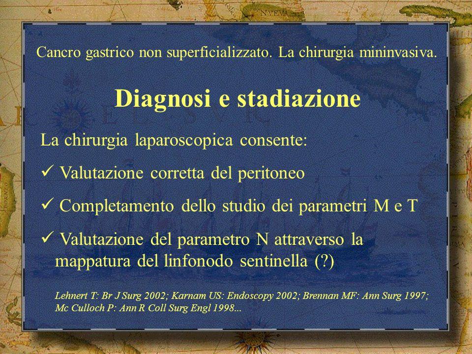 Diagnosi e stadiazione La chirurgia laparoscopica consente: Valutazione corretta del peritoneo Completamento dello studio dei parametri M e T Valutazi