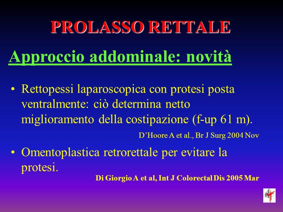 PROLASSO RETTALE Approccio addominale: novità Rettopessi laparoscopica con protesi posta ventralmente: ciò determina netto miglioramento della costipa