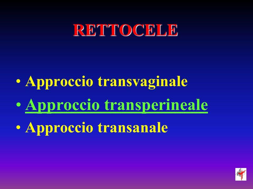 RETTOCELE Approccio transvaginale Approccio transperineale Approccio transanale