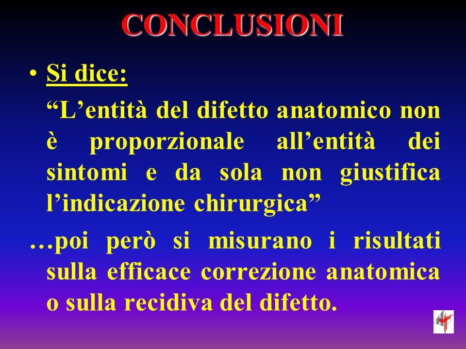 CONCLUSIONI Si dice: Lentità del difetto anatomico non è proporzionale allentità dei sintomi e da sola non giustifica lindicazione chirurgica …poi per