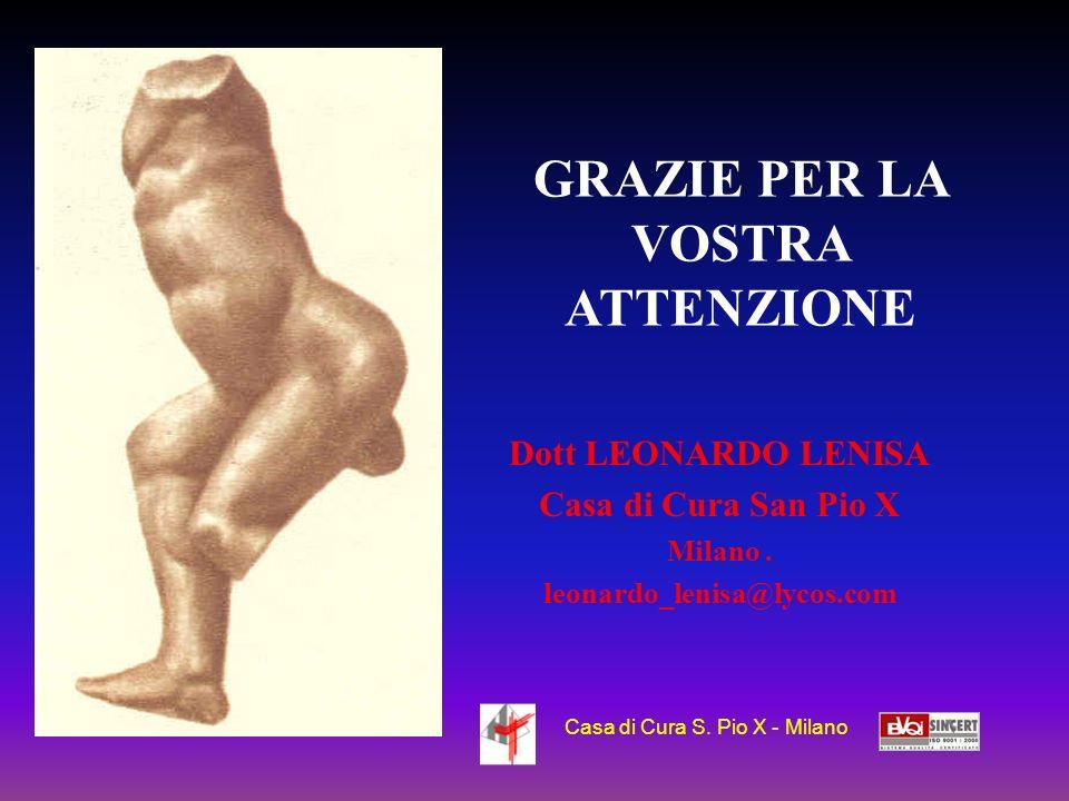 Dott LEONARDO LENISA Casa di Cura San Pio X Milano. leonardo_lenisa@lycos.com GRAZIE PER LA VOSTRA ATTENZIONE Casa di Cura S. Pio X - Milano