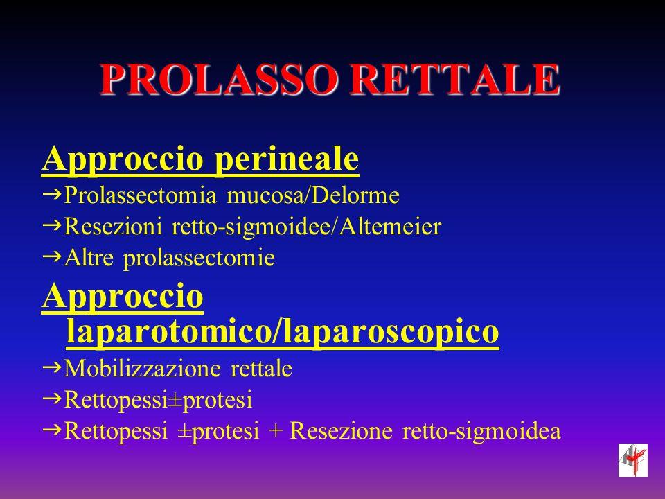 PROLASSO RETTALE Approccio perineale Prolassectomia mucosa/Delorme Resezioni retto-sigmoidee/Altemeier Altre prolassectomie Approccio laparotomico/laparoscopico Mobilizzazione rettale Rettopessi±protesi Rettopessi ±protesi + Resezione retto-sigmoidea