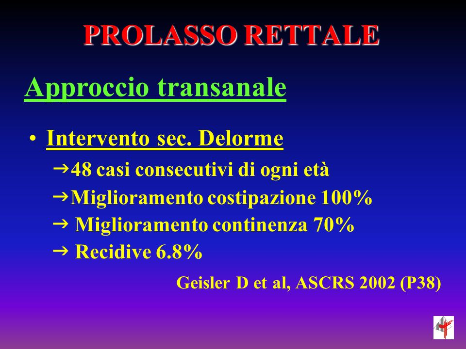 RETTOCELE Approccio transvaginale Transvaginal anterior levatorplasty with posterior colporrhaphy might be an option for symptomatic rectocele to improve anorectal and urinary disfunction with morphological disorders.