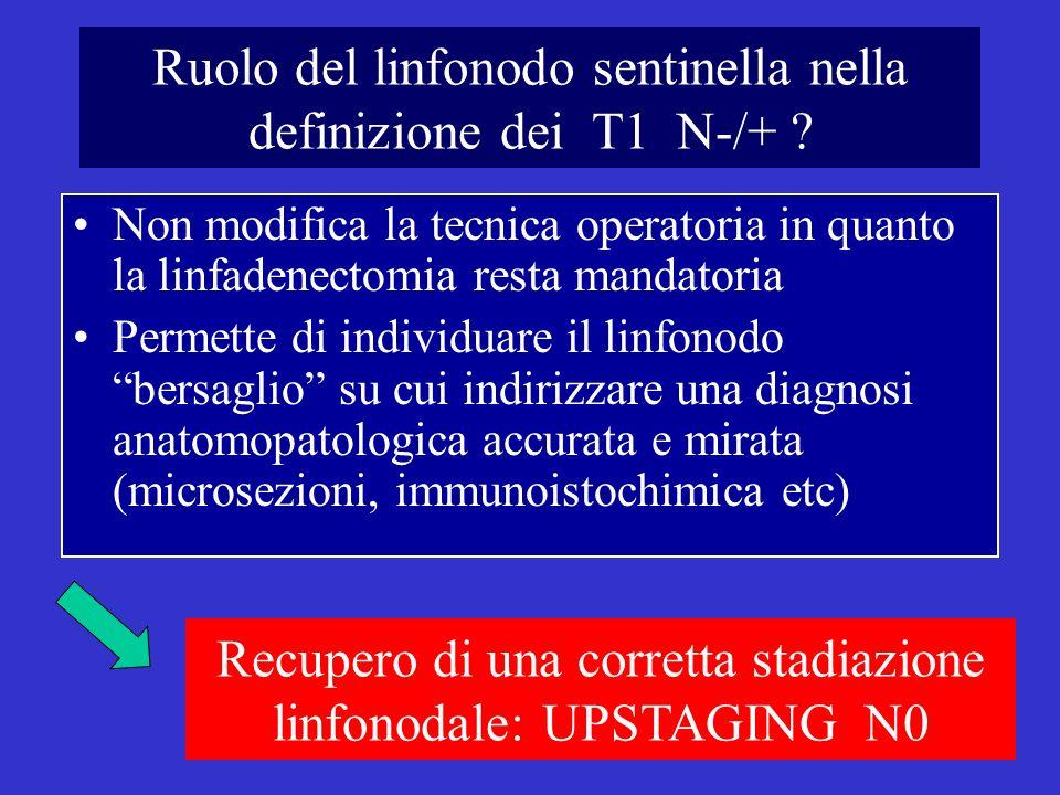 Ruolo del linfonodo sentinella nella definizione dei T1 N-/+ .
