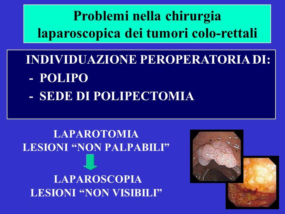LAPAROTOMIA LESIONI NON PALPABILI LAPAROSCOPIA LESIONI NON VISIBILI Problemi nella chirurgia laparoscopica dei tumori colo-rettali INDIVIDUAZIONE PEROPERATORIA DI: - POLIPO - SEDE DI POLIPECTOMIA