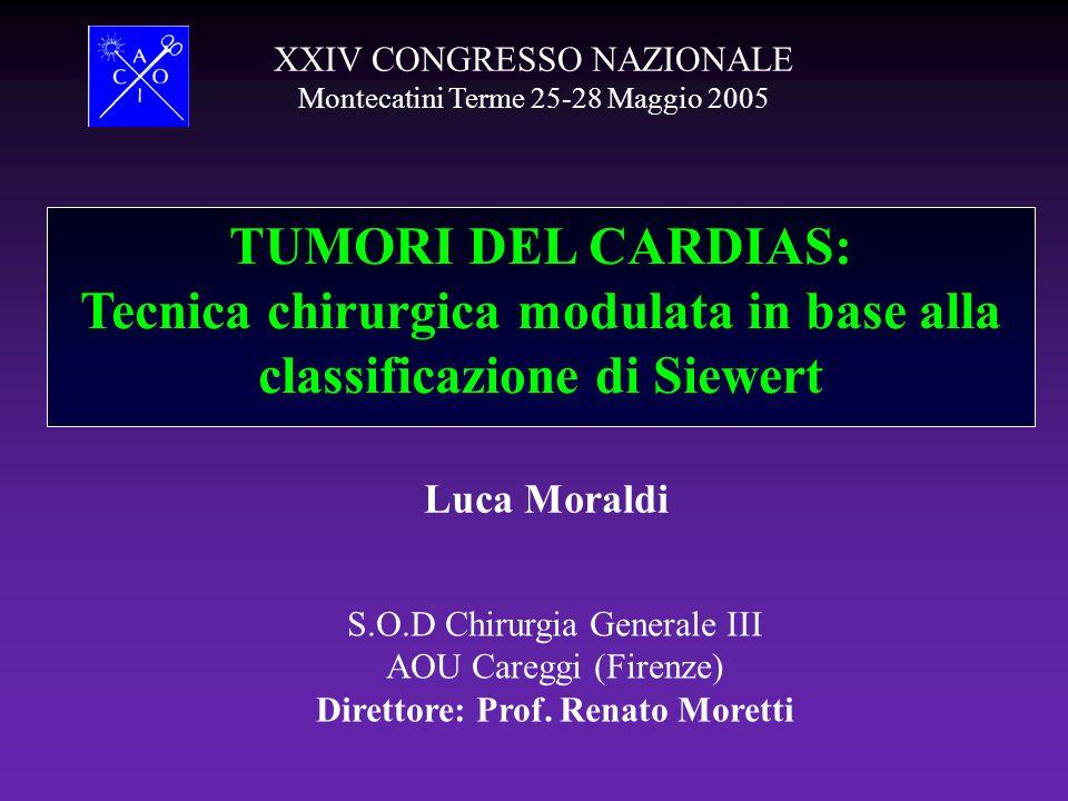 TUMORI DEL CARDIAS: Tecnica chirurgica modulata in base alla classificazione di Siewert XXIV CONGRESSO NAZIONALE Montecatini Terme 25-28 Maggio 2005 S