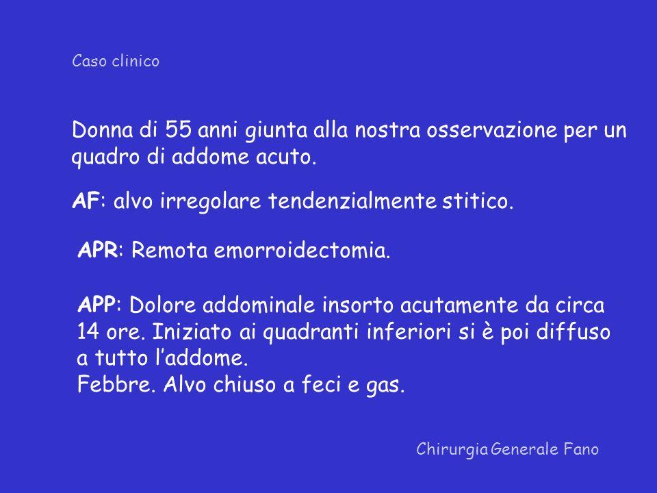 Chirurgia Generale Fano Caso clinico Addome disteso, difeso su tutti i quadranti.