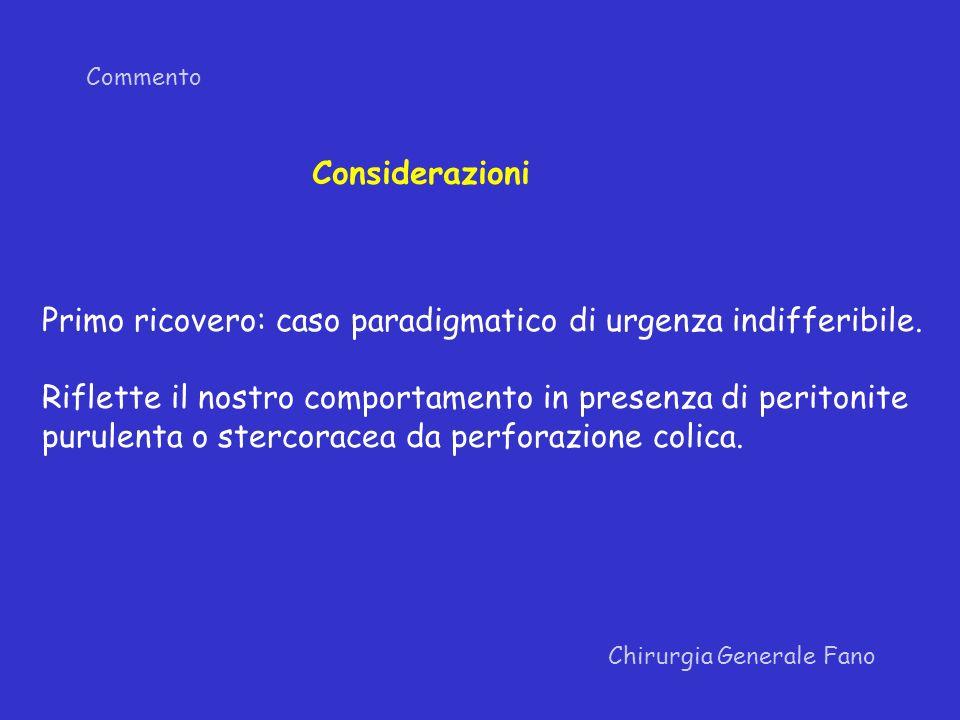 Commento Chirurgia Generale Fano Considerazioni Primo ricovero: caso paradigmatico di urgenza indifferibile. Riflette il nostro comportamento in prese