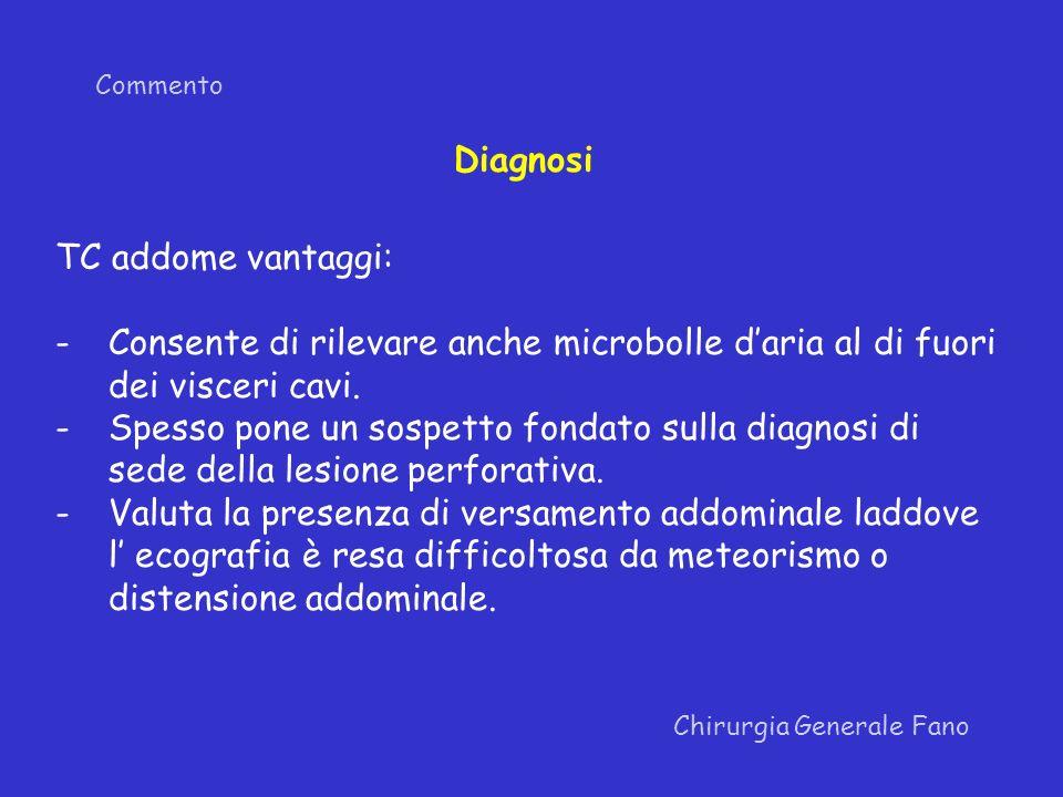Commento Chirurgia Generale Fano Diagnosi TC addome vantaggi: -Consente di rilevare anche microbolle daria al di fuori dei visceri cavi. -Spesso pone