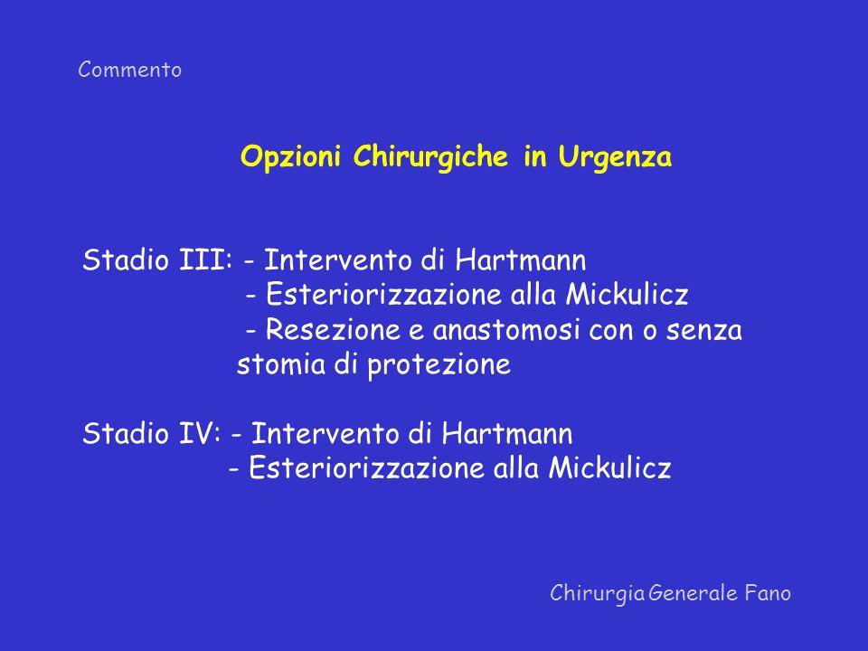 Commento Chirurgia Generale Fano Opzioni Chirurgiche in Urgenza Stadio III: - Intervento di Hartmann - Esteriorizzazione alla Mickulicz - Resezione e