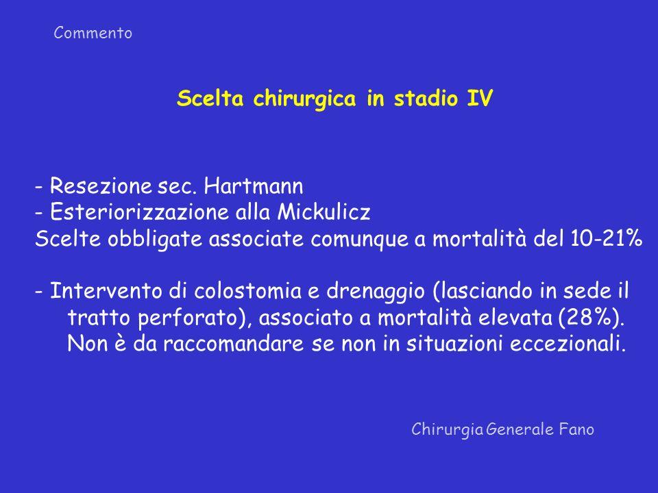 Commento Chirurgia Generale Fano Scelta chirurgica in stadio IV - Resezione sec. Hartmann - Esteriorizzazione alla Mickulicz Scelte obbligate associat