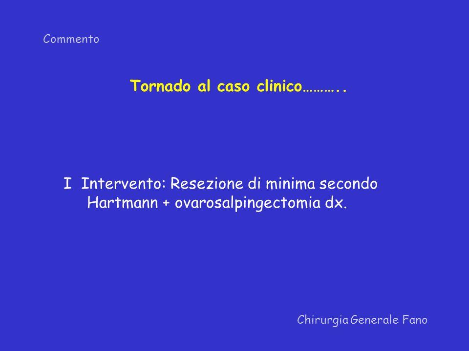 Commento Chirurgia Generale Fano I Intervento: Resezione di minima secondo Hartmann + ovarosalpingectomia dx. Tornado al caso clinico………..