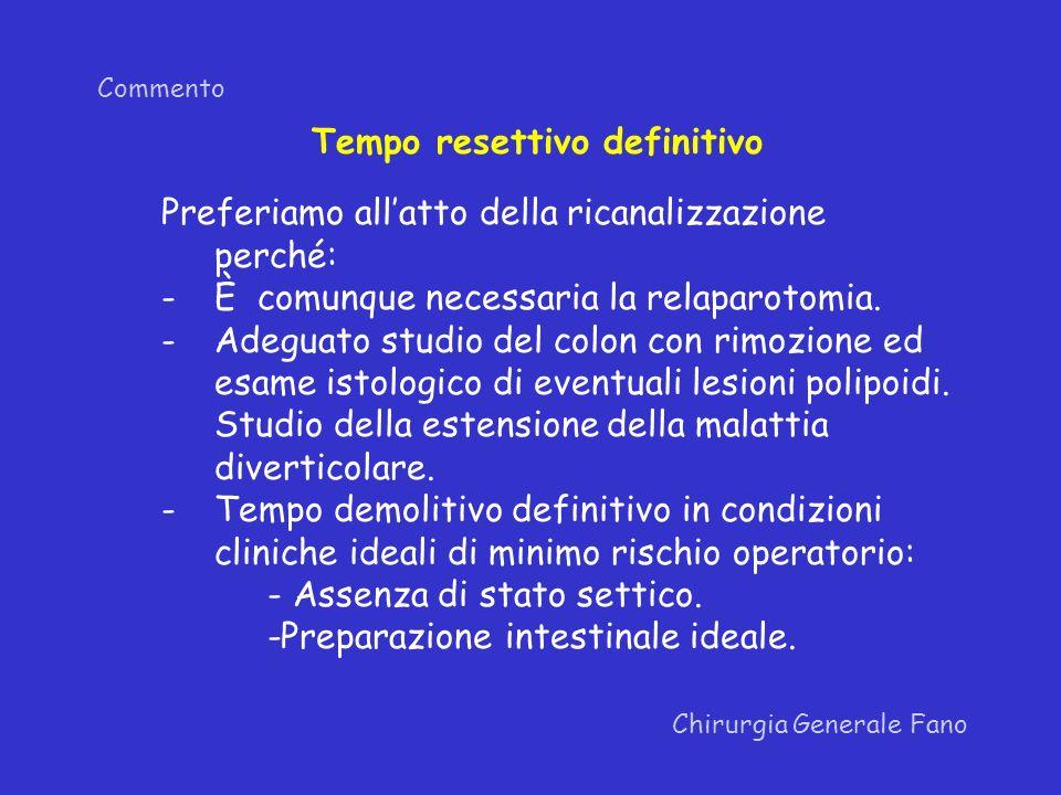 Commento Chirurgia Generale Fano Preferiamo allatto della ricanalizzazione perché: -È comunque necessaria la relaparotomia. -Adeguato studio del colon