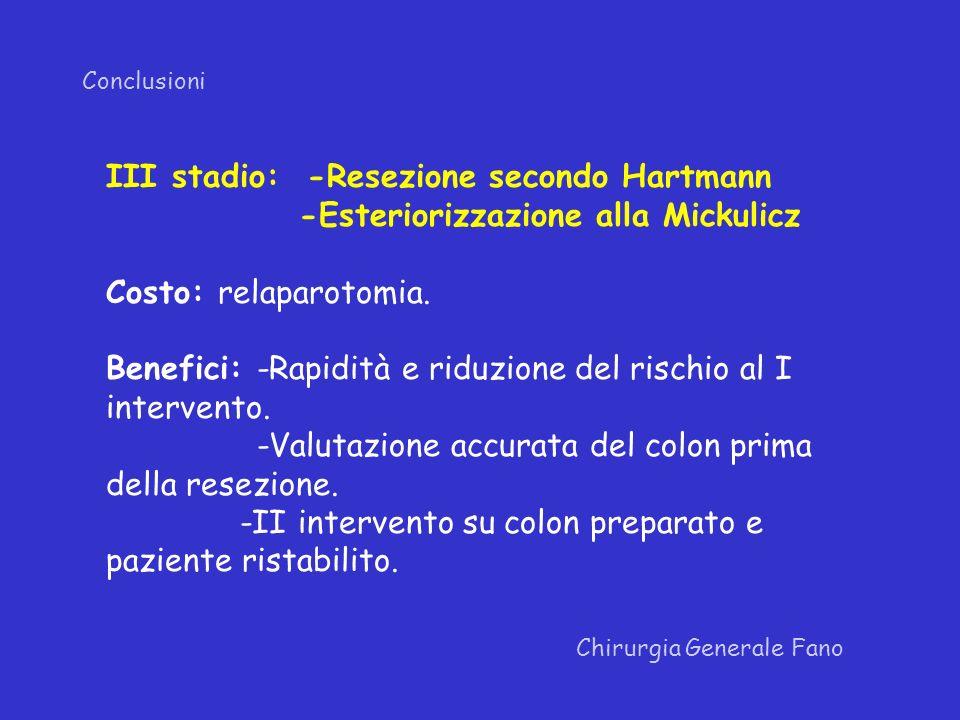 Conclusioni Chirurgia Generale Fano III stadio: -Resezione secondo Hartmann -Esteriorizzazione alla Mickulicz Costo: relaparotomia. Benefici: -Rapidit