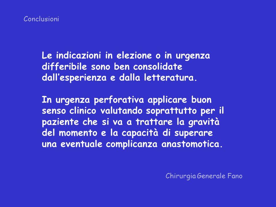 Conclusioni Chirurgia Generale Fano Le indicazioni in elezione o in urgenza differibile sono ben consolidate dallesperienza e dalla letteratura. In ur