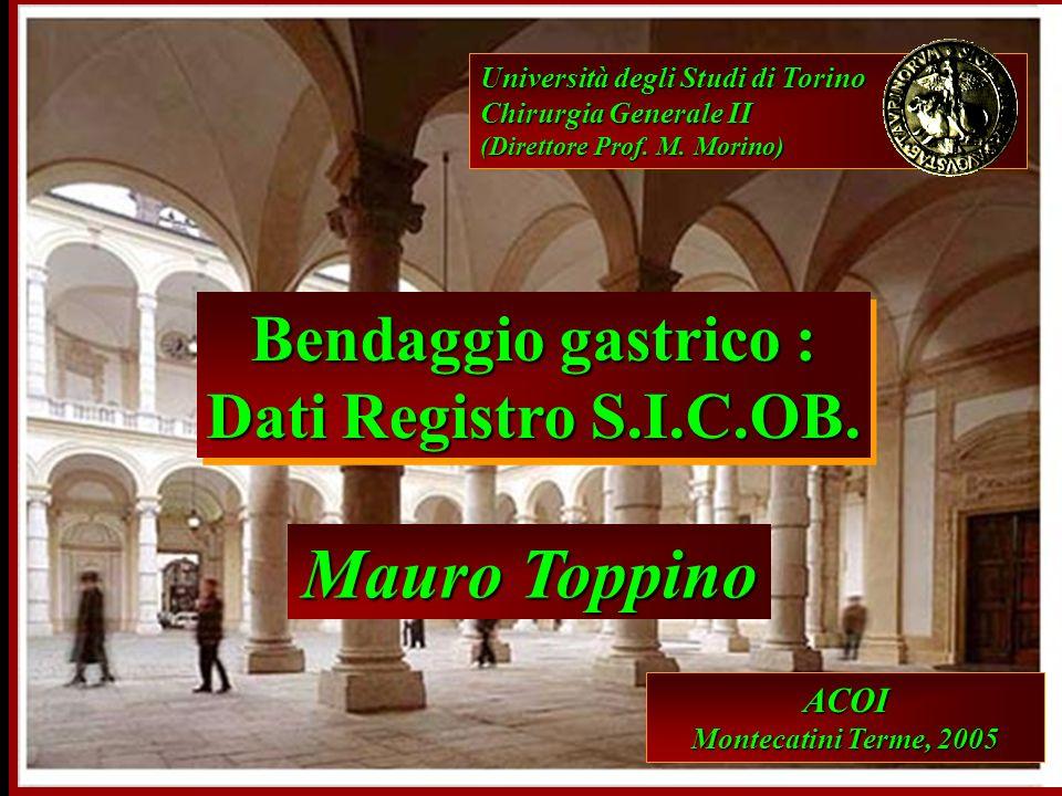 Università degli Studi di Torino Chirurgia Generale II (Direttore Prof. M. Morino) Mauro Toppino Bendaggio gastrico : Dati Registro S.I.C.OB. Bendaggi