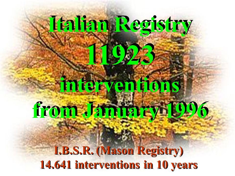 Italian Registry 11923 interventions from January 1996 Italian Registry 11923 interventions from January 1996 I.B.S.R. (Mason Registry) 14.641 interve