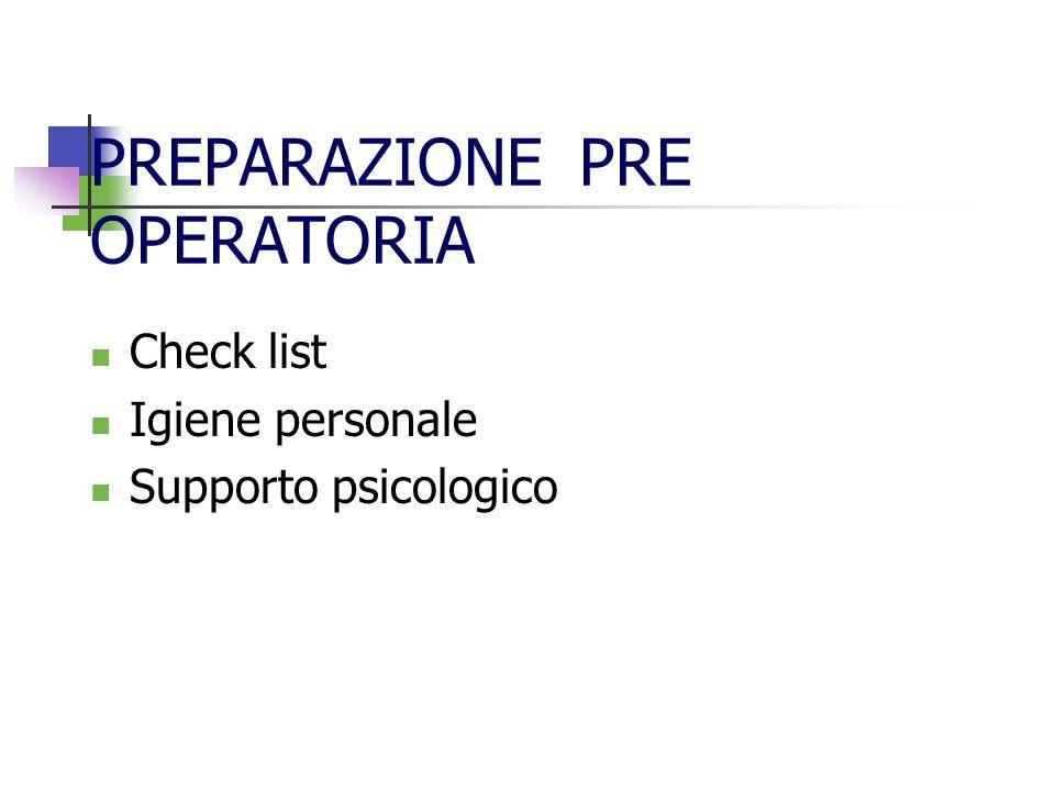 PREPARAZIONE PRE OPERATORIA Check list Igiene personale Supporto psicologico