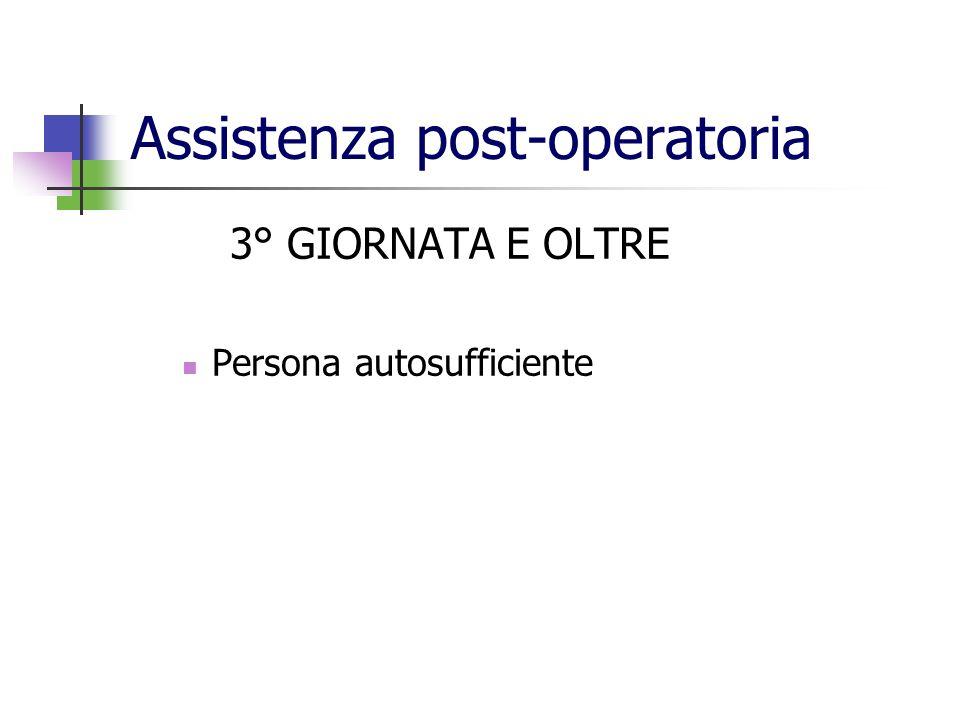 Assistenza post-operatoria 3° GIORNATA E OLTRE Persona autosufficiente