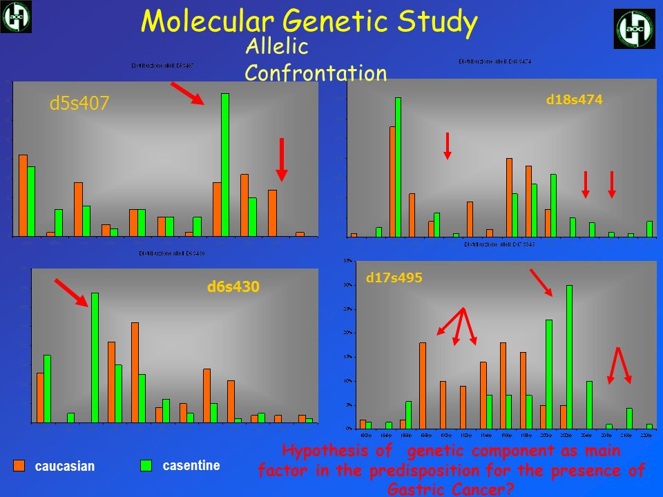 d5s407 d6s430 d17s495 d18s474 caucasian casentine Allelic Confrontation Molecular Genetic Study Hypothesis of genetic component as main factor in the predisposition for the presence of Gastric Cancer