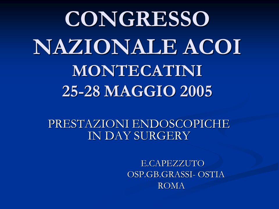 CONGRESSO NAZIONALE ACOI MONTECATINI 25-28 MAGGIO 2005 PRESTAZIONI ENDOSCOPICHE IN DAY SURGERY E.CAPEZZUTO E.CAPEZZUTO OSP.GB.GRASSI- OSTIA OSP.GB.GRA