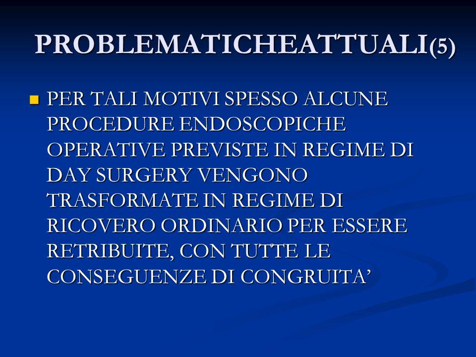 PROBLEMATICHEATTUALI (5) PER TALI MOTIVI SPESSO ALCUNE PROCEDURE ENDOSCOPICHE OPERATIVE PREVISTE IN REGIME DI DAY SURGERY VENGONO TRASFORMATE IN REGIM