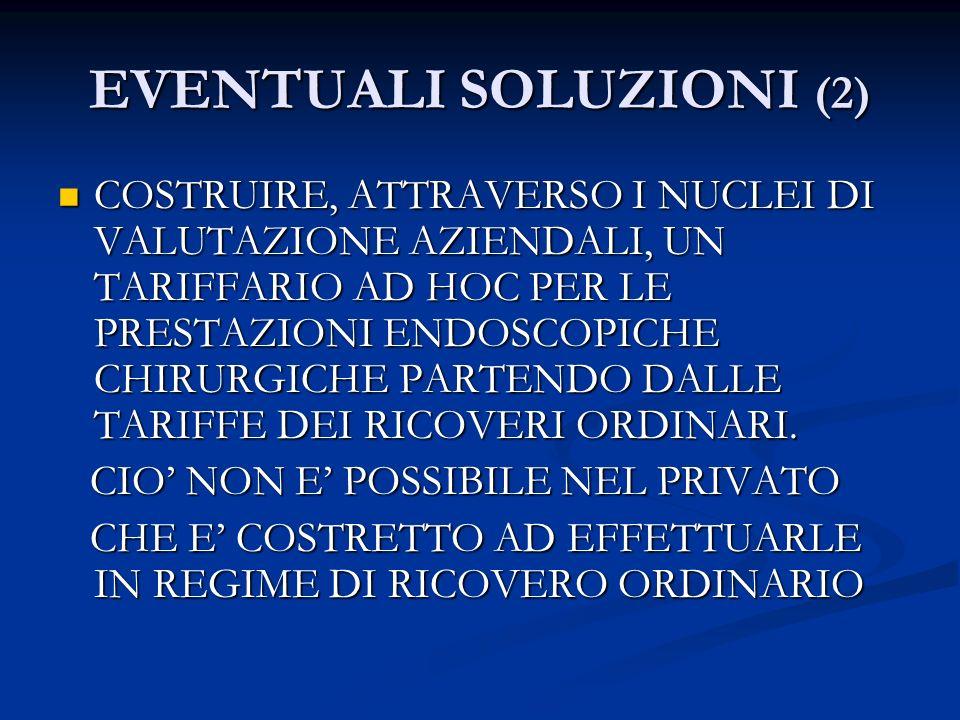 EVENTUALI SOLUZIONI (2) COSTRUIRE, ATTRAVERSO I NUCLEI DI VALUTAZIONE AZIENDALI, UN TARIFFARIO AD HOC PER LE PRESTAZIONI ENDOSCOPICHE CHIRURGICHE PART