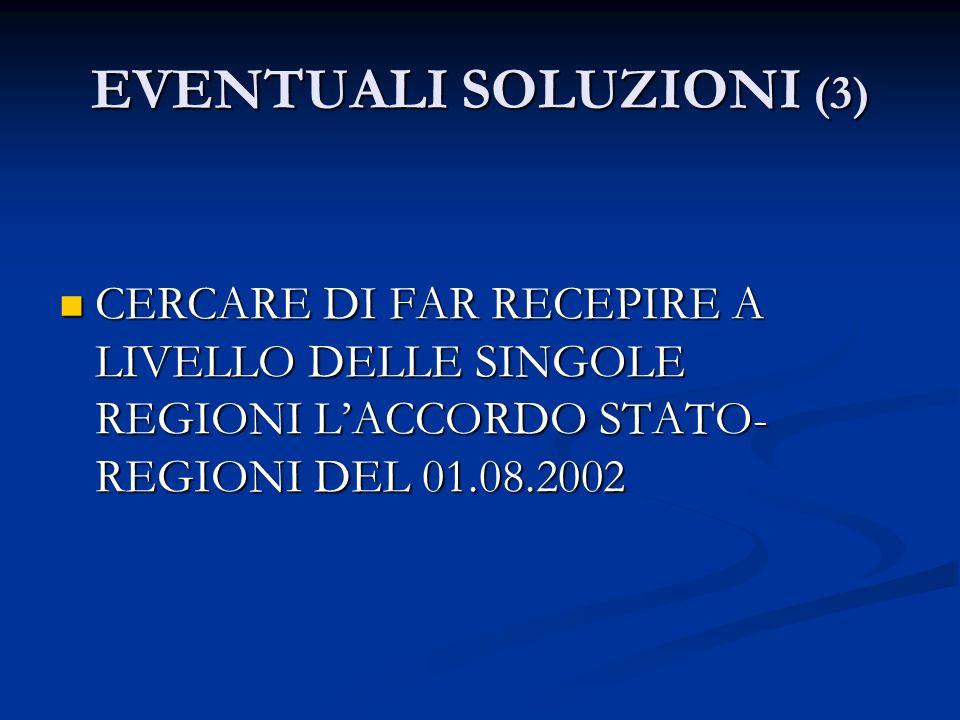 EVENTUALI SOLUZIONI (3) CERCARE DI FAR RECEPIRE A LIVELLO DELLE SINGOLE REGIONI LACCORDO STATO- REGIONI DEL 01.08.2002 CERCARE DI FAR RECEPIRE A LIVEL