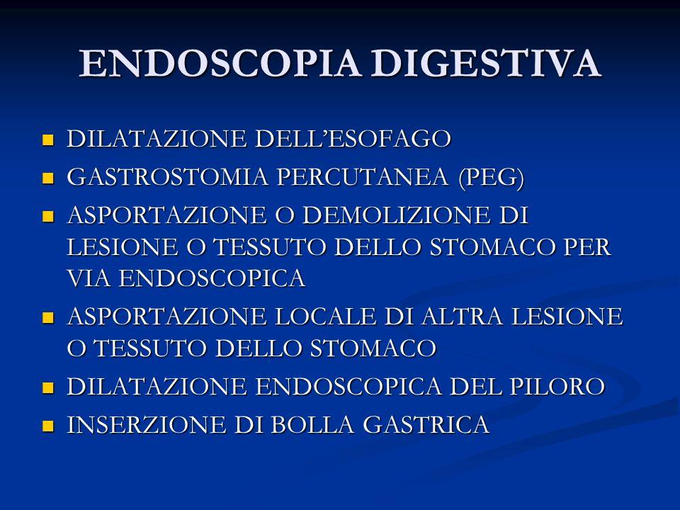 ENDOSCOPIA DIGESTIVA (2) RIMOZIONE DI BOLLA GASTRICA RIMOZIONE DI BOLLA GASTRICA ASPORTAZIONE LOCALE DI LESIONE O TESSUTO DELLINTESTINO GRASSO ASPORTAZIONE LOCALE DI LESIONE O TESSUTO DELLINTESTINO GRASSO DIGIUNOSTOMIA PERCUTANEA(PEG-J) DIGIUNOSTOMIA PERCUTANEA(PEG-J) DILATAZIONE DELLINTESTINO DILATAZIONE DELLINTESTINO ELETTROCOAGULAZIONE RADICALE DI LESIONE O TESSUTO DEL RETTO ELETTROCOAGULAZIONE RADICALE DI LESIONE O TESSUTO DEL RETTO ALTRA ELETTROCOAGULAZIONE DI LESIONE O TESSUTO DEL RETTO ALTRA ELETTROCOAGULAZIONE DI LESIONE O TESSUTO DEL RETTO DEMOLIZIONE DI LESIONE O TESSUTO DEL RETTO MEDIANTE LASER DEMOLIZIONE DI LESIONE O TESSUTO DEL RETTO MEDIANTE LASER ASPORTAZIONE LOCALE DI LESIONE O TESSUTO DEL RETTO (2) ASPORTAZIONE LOCALE DI LESIONE O TESSUTO DEL RETTO (2)