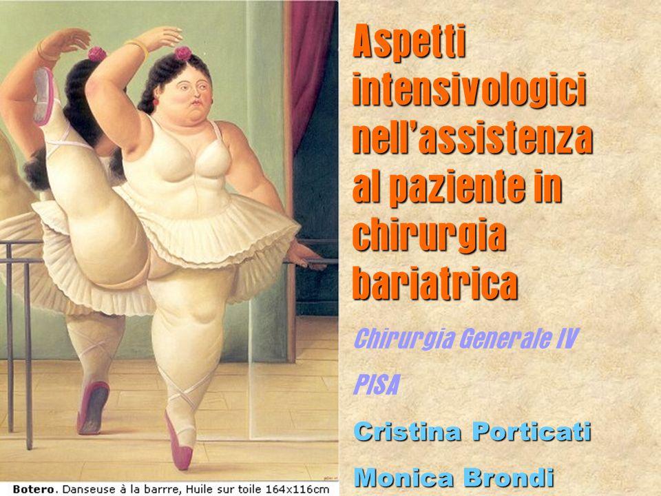 Aspetti intensivologici nellassistenza al paziente in chirurgia bariatrica Chirurgia Generale IV PISA Cristina Porticati Monica Brondi
