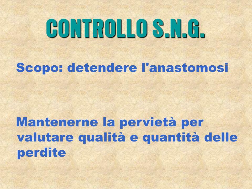 Scopo: detendere l'anastomosi Mantenerne la pervietà per valutare qualità e quantità delle perdite CONTROLLO S.N.G.
