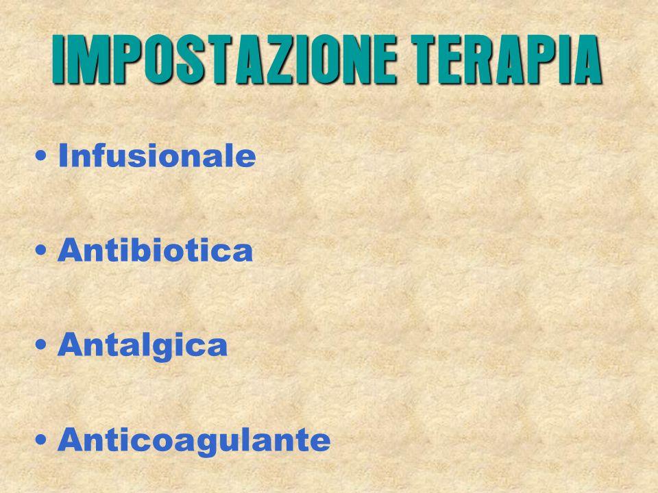 Infusionale Antibiotica Antalgica Anticoagulante IMPOSTAZIONE TERAPIA