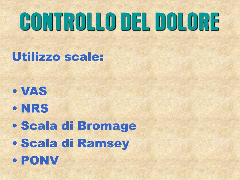 Utilizzo scale: VAS NRS Scala di Bromage Scala di Ramsey PONV CONTROLLO DEL DOLORE