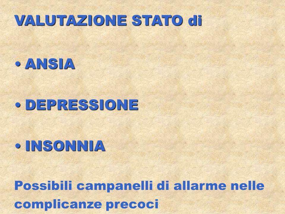 VALUTAZIONE STATO di ANSIAANSIA DEPRESSIONEDEPRESSIONE INSONNIAINSONNIA Possibili campanelli di allarme nelle complicanze precoci