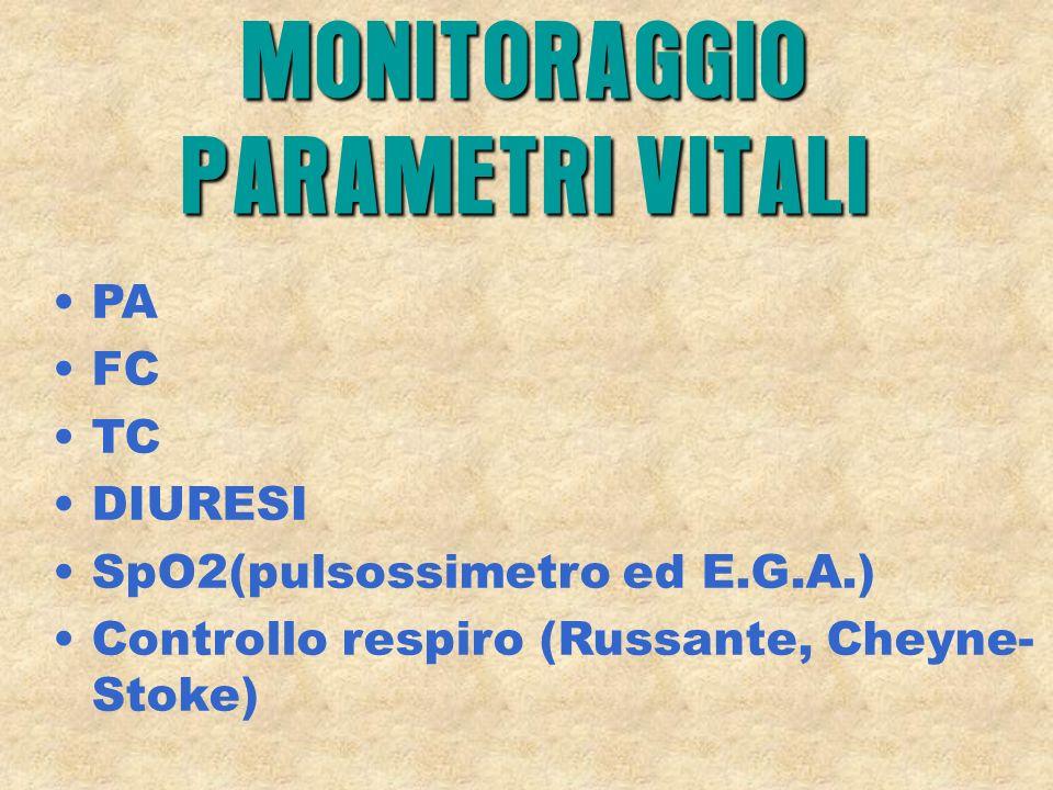 PA FC TC DIURESI SpO2(pulsossimetro ed E.G.A.) Controllo respiro (Russante, Cheyne- Stoke) MONITORAGGIO PARAMETRI VITALI
