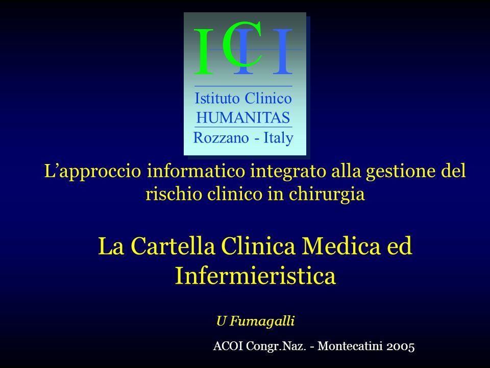 I I I C Istituto Clinico HUMANITAS Rozzano - Italy Lapproccio informatico integrato alla gestione del rischio clinico in chirurgia La Cartella Clinica Medica ed Infermieristica U Fumagalli ACOI Congr.Naz.