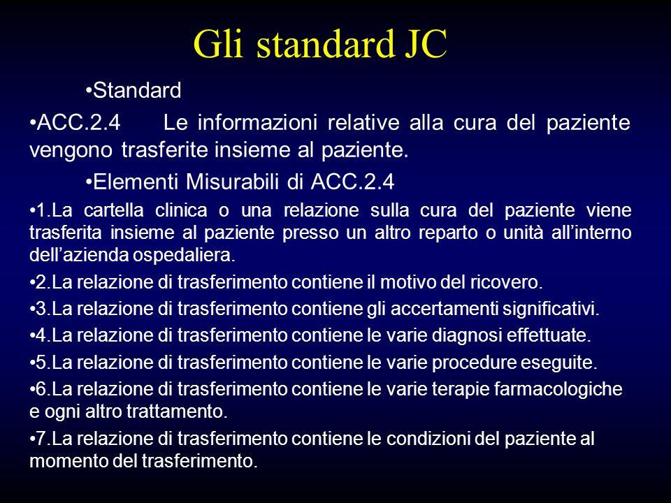Gli standard JC Standard ACC.2.4Le informazioni relative alla cura del paziente vengono trasferite insieme al paziente.