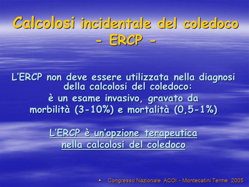 Calcolosi incidentale del coledoco - ERCP - Congresso Nazionale ACOI - Montecatini Terme 2005 Congresso Nazionale ACOI - Montecatini Terme 2005 LERCP non deve essere utilizzata nella diagnosi della calcolosi del coledoco: è un esame invasivo, gravato da morbilità (3-10%) e mortalità (0,5-1%) LERCP è unopzione terapeutica nella calcolosi del coledoco