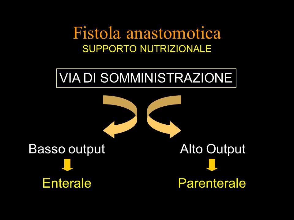 Fistola anastomotica SUPPORTO NUTRIZIONALE VIA DI SOMMINISTRAZIONE Basso output Alto Output Enterale Parenterale